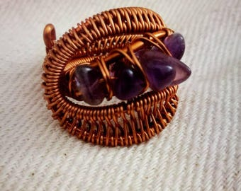 Amethyst and copper Statement ring/fingerwrap