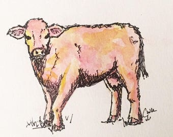 """5""""x7"""" Watercolor Pink Cow Print"""