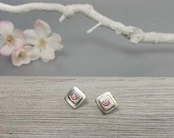 dainty rose stud earrings, rose zircon sterling silver studs