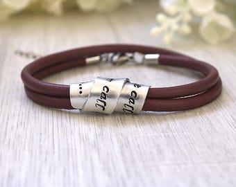 Custom Women bracelet - Custom stamped bracelet - Women leather bracelet - Custom jewelry - Custom wrap bracelet - Women wrap bracelet
