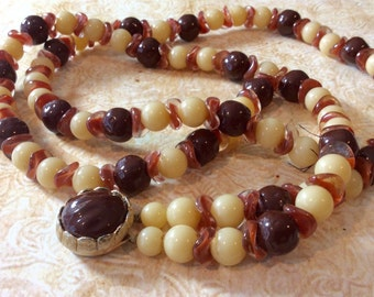Vintage Mid Century Modern Brown and Cream Beaded Necklace for Repair or Repurpose