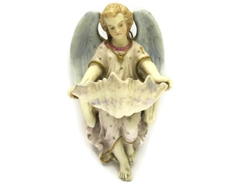 Antique Porcelain Angel Figurine Holy Water Font by Mauger & Letu. Guardian Angel French Religious Gift. Christmas Decoration and Home Decor
