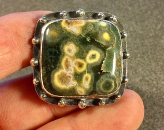 Large Square Ocean Jasper ring size 7