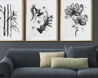 Botanical Print Set Of 3 Prints, Asian Wall Art Black And White Art Asian  Decor