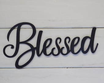 Blessed Sign, Rustic Word Art Sign, Metal words, Metal Wall Signs, Farmhouse Decor, Gallery Wall Decor