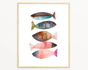 Colorful Fish Art Print. Watercolor Fish. Abstract Fish Print. Fisherman Gift. Office Art. Gift For Him. Lake House Decor. Cottage Wall Art.