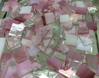 100 PINK CRYSTAL & ICE Odd Size Mix Stained Glass Mosaic Tile i-3