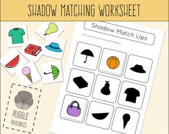Printable Shadow/Shape Matching Worksheet Busy Bag DOWNLOAD
