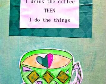 """Professeur cadeau tasse à café 8.5 """"x 11"""" merveille d'origine toile plat boisson café Inspiration peinture mixte navire gratuit rose Teal"""