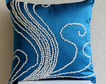 "Handmade Blue Pillow Covers, 16""x16"" Silk Pillowcase, Square  Mother Of Pearls Pillows Cover - Undersea Magic"