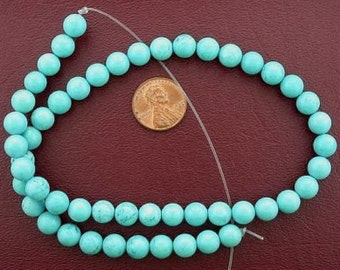 8mm round gemstone stabilized turquoise bead