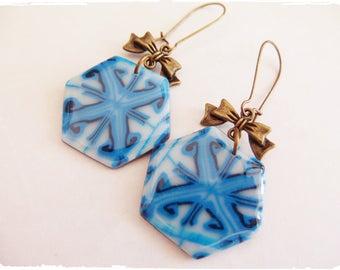 Earrings hexagonal effect ceramic handmade creation