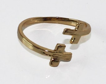 Ring cross gold plated