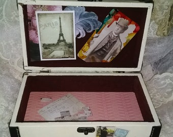 OOAK Artists Old, Beat Up, Well Traveled Steamer Trunk, Jewelry, Trinket, Card/Letter, Memento Box