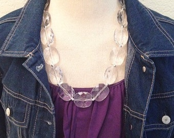 Single Strand Clear Crystal Statement Necklace, Bib necklace, everyday necklace, beaded necklace, bridesmaid necklace, translucent necklace