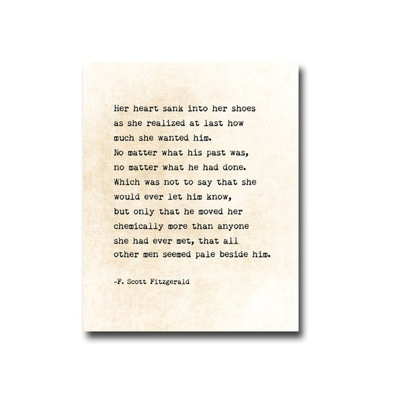 F. Scott Fitzgerald Quote Wall Art Print Love Quote Literary