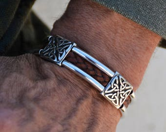 Mens celtic jewelry etsy mens celtic jewelry braided genuine leather bracelet irish silver symbol gaelic cross wrist wrap brown leather mozeypictures Gallery