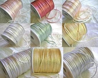 SATIN CORD, Jewelry, Kumihimo, Rattail, Metallics and Pastels