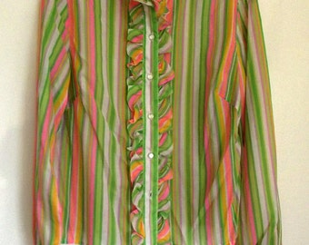 A Vintage Green and Pink Stripey Cotton & Terylene Polyester Frilly Ladies' Blouse