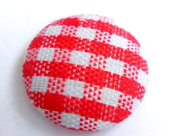 Cabochon fabric red gingham 14 mm