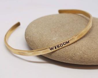 Wisdom Bracelet, Wisdom Cuff, Daily Reminder Jewelry, Thin Stacking Cuff, Cuff Bracelet