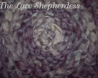 "Hand dyed Coopworth Wool Pin Draft Roving.  7.1 oz.""Cozy Lavender"""