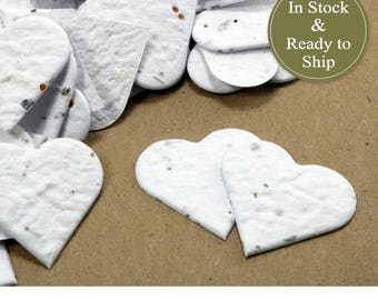 White Plantable Seed Paper Confetti Hearts - READY-TO-SHIP -  Eco Friendly, Wedding Favors, Bridal Shower Favors, Baby Shower Favors