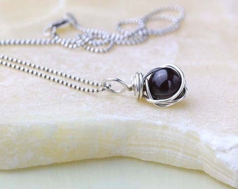 Garnet Birthstone Necklace, Garnet Gemstone Pendant, January Birthday Gift for Her, Sterling Silver, Burgundy Red Garnet Necklace