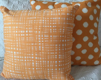 DECORATIVE PILLOW-Creamsicle Orange and white (J)