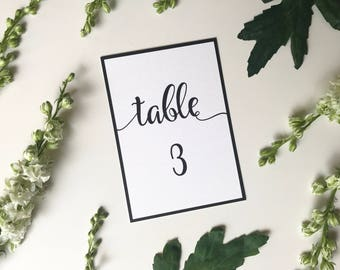 Black & White Calligraphy Wedding Table Number - Elegant Wedding Reception Decor - Modern Wedding Table Number