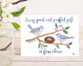 Every good and perfect gift is from above (James 1:17) Christian Bible verse greetings card with birds and nest New Baby, Christening