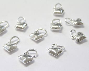 Pack of 2, 925 Sterling Silver 6mm x 5mm x 3mm puffed heart charm / drop [our ref: 11-0359]