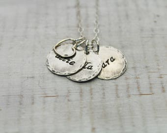 Personalized Necklace- Sterling Silver- Charm Necklace- Hand Stamped Necklace- Personalized Jewelry