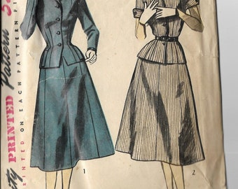 Vintage Sewing Pattern Simplicity 4089 Size 16 Bust 34 Misses' 1950s Fifties 1952 Peter Pan Collar Long Short Sleeve Jacket Full Skirt