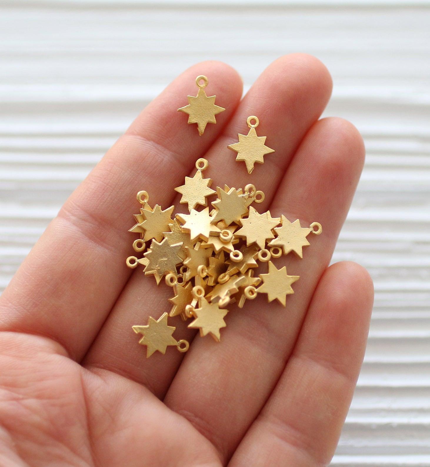 10pc gold star charm, mini star pendant, gold star beads, earring ...