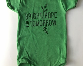 Bright Hope for Tomorrow, size 3-6 Months, Screen printed Baby romper, one piece, green with Black print