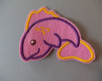 Applied felt fish pink felt patch badge
