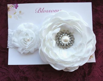 White Satin Baptism Headband, Baby Christening Headband, Flower Girl Headband, Couture Headband, White Baby Headband, Wedding Headband