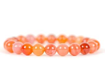 Carnelian Bracelet, Orange Chakra Gemstone, Genuine Gemstone, Gemstone Bracelet, Handmade Jewelry, Gemstone Jewelry, unique-gift-for-wife