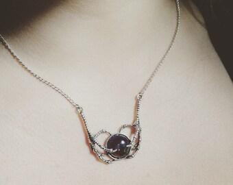 Amethyst Claw Necklace - Talon Necklace - Amethyst Crystal Necklace