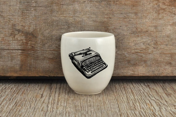 Porcelain coffee tumbler with vintage typewriter drawing by Cindy Labrecque