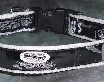 Adjustable Dog Collar from Recycled Skagit River Sculler's IPA Beer Labels