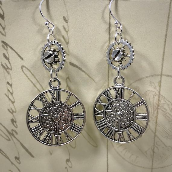 Steampunk Clock Face and Gears Dangle Earrings