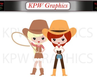 Western Cowgirl Clipart Set in a PNG (300ppi) format. Personal & Small Commercial use (223)