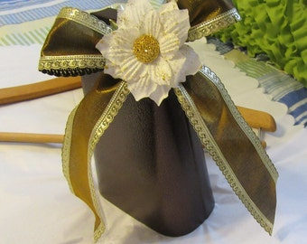 Cow Bell Unique One of A Kind Special Wedding Sports Party Bronze Gold Bow White Flower Accents Gold Glitter Bling Bell Ringer Buff Gift