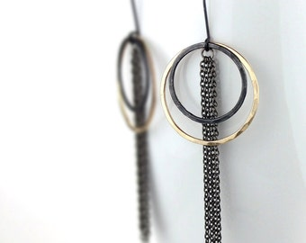 Hammered Gold and Black Hoops with Gunmetal Chain, Double Hoop Statement Earrings, Mixed Metal Hoops