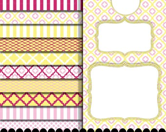 Pink digital paper frame clip art in pink yellow fuschia printables : p0207 3s103738 IP