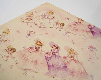 Vintage Bridal Shower Wrapping Paper Purple Pink Mid Century Brides and Bridesmaids Gift Wrap