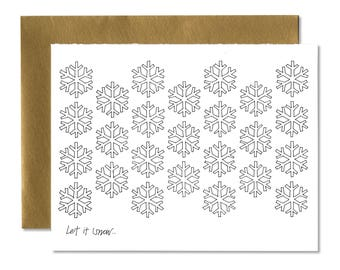 Let it Snow Snowflake - A2 Horizontal Holiday Card Set (Single or Set of 5)