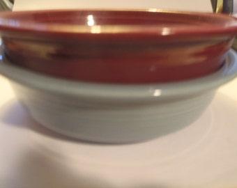 Fiestaware Homer Laughlin Coupe Soup Bowls  Cinnabar & Periwinkle